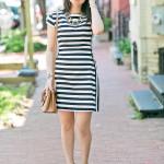 Workwear Wednesday | Black & White Mixed Stripe Dress