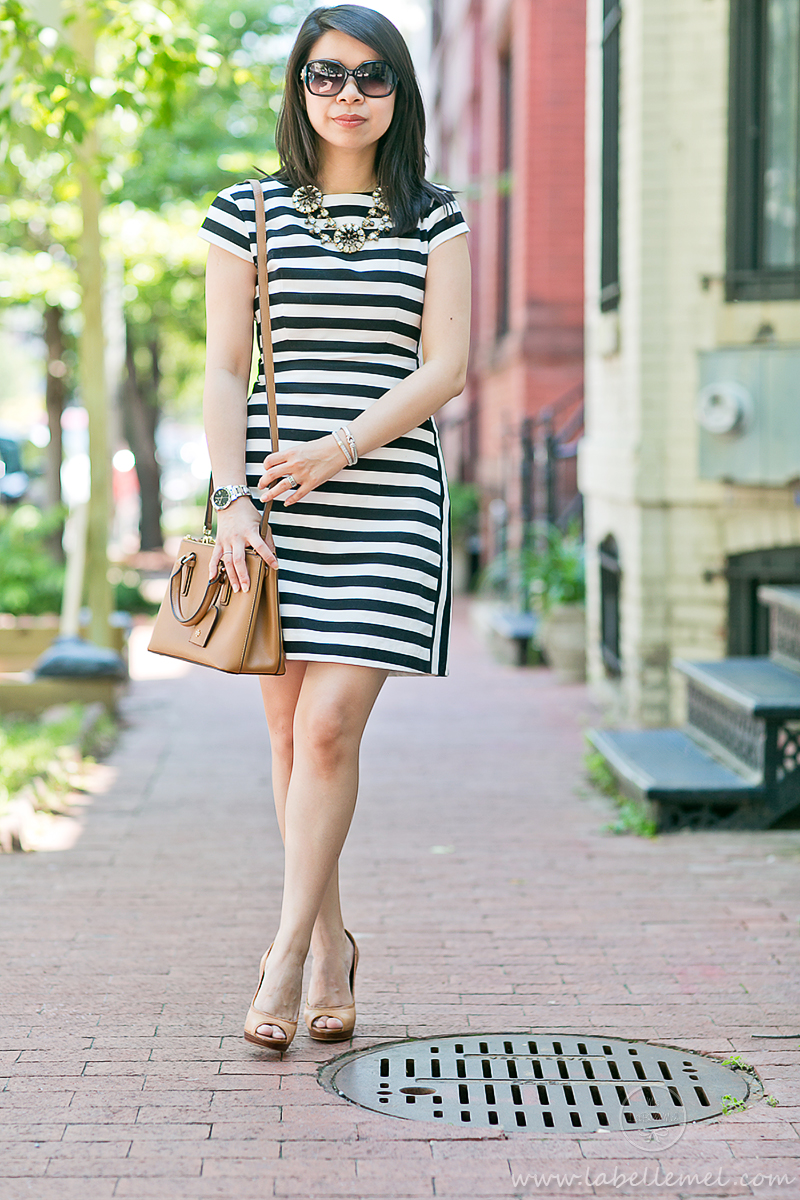 LaBelleMel_Workwear_Wednesday_Black_White_Mixed_Stripes_Dress_Cognac_Details_2