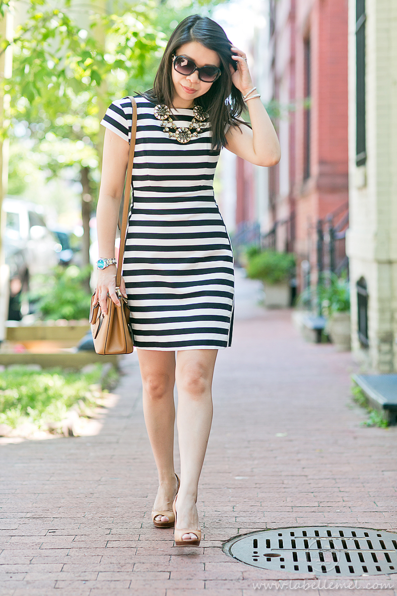 LaBelleMel_Workwear_Wednesday_Black_White_Mixed_Stripes_Dress_Cognac_Details_3
