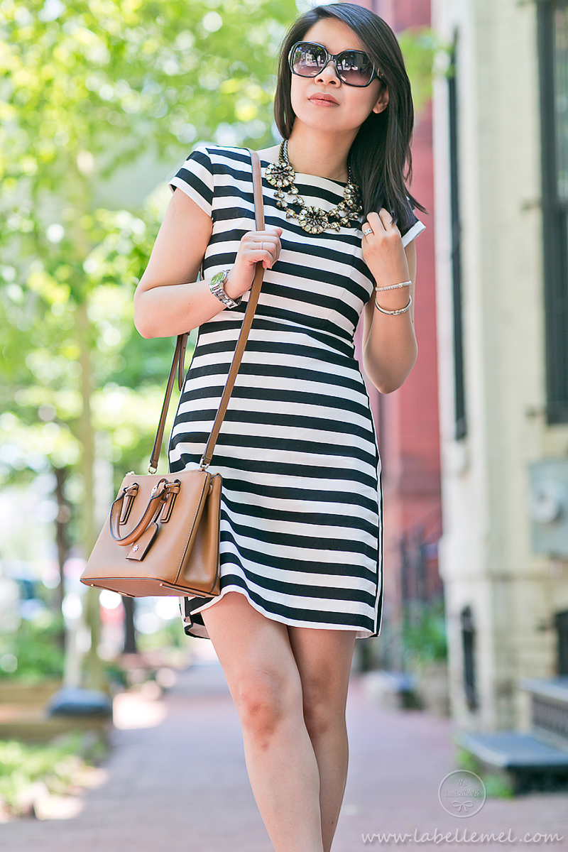 LaBelleMel_Workwear_Wednesday_Black_White_Mixed_Stripes_Dress_Cognac_Details_5