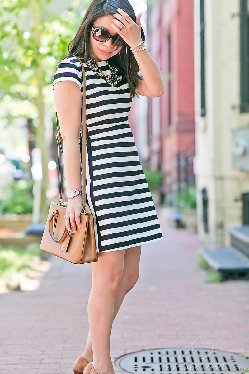 LaBelleMel_Workwear_Wednesday_Black_White_Mixed_Stripes_Dress_Cognac_Details_6