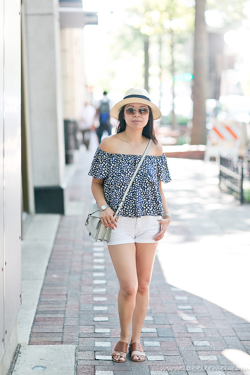 LaBelleMel_Summer_Casual_Flowy_Off_Shoulder_White_Shorts_1
