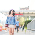 NYFW SS16 Day One | Off-Shoulder Ruffled Chambray Top + Crochet Shorts