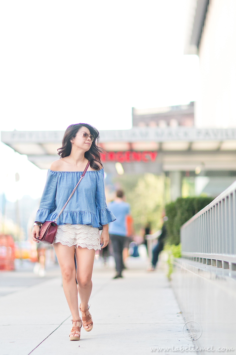 LaBelleMel_NYFW15_Off-Shoulder_Chambray_Ruffled_Top_Crochet_Shorts_1