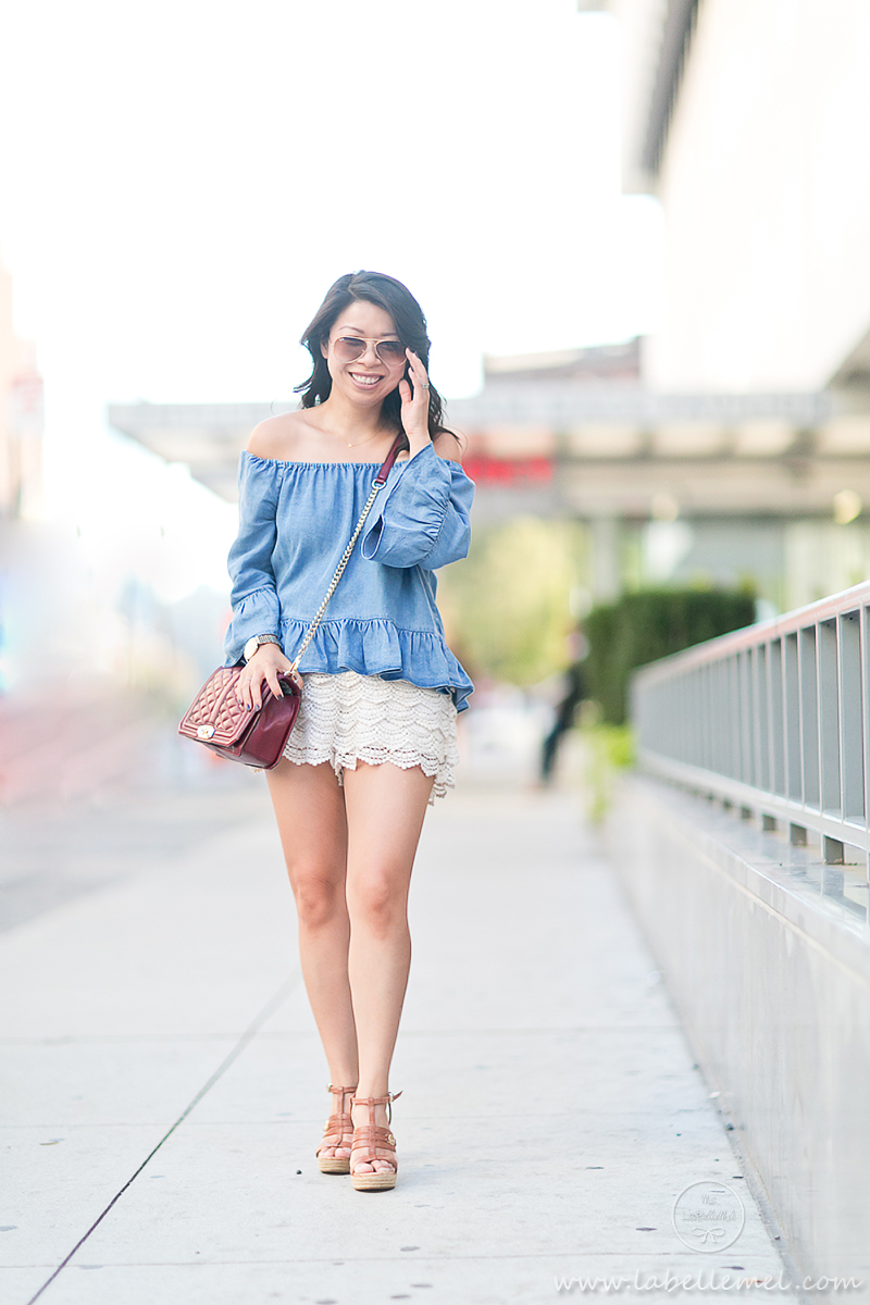 LaBelleMel_NYFW15_Off-Shoulder_Chambray_Ruffled_Top_Crochet_Shorts_2