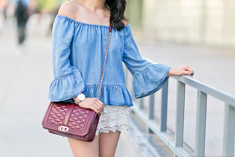 LaBelleMel_NYFW15_Off-Shoulder_Chambray_Ruffled_Top_Crochet_Shorts_3