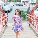 Summer Transition | Off-Shoulder Printed Dress + Caged Sandals