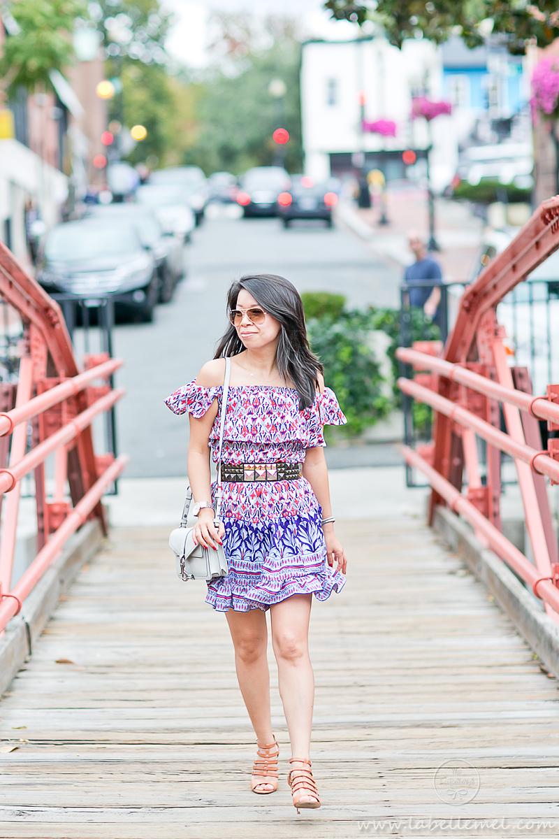LaBelleMel_Summer_Transition_Off_Shoulder_Printed_Dress_Caged_Sandals_1