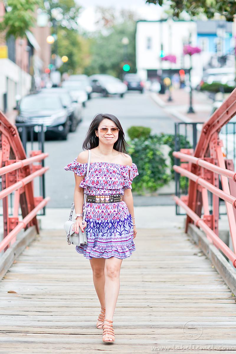 LaBelleMel_Summer_Transition_Off_Shoulder_Printed_Dress_Caged_Sandals_2