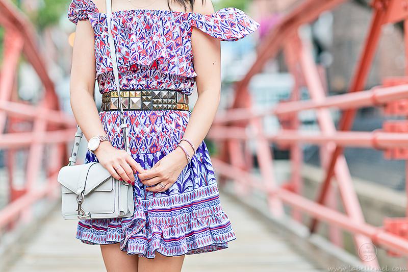 LaBelleMel_Summer_Transition_Off_Shoulder_Printed_Dress_Caged_Sandals_3