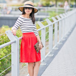 À la Autumn | Off-Shoulder Striped Top + Cherry Red Full Skirt