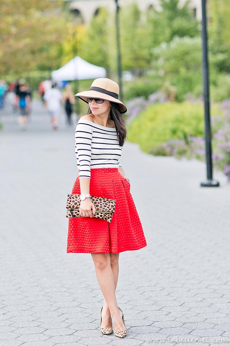 LaBelleMel_A_La_Autumn_Off_Shoulder_Stripes_Top_Cherry_Red_Full_Skirt_3