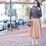 Giving Thanks | Pleather Skirt + Monochromatic Browns