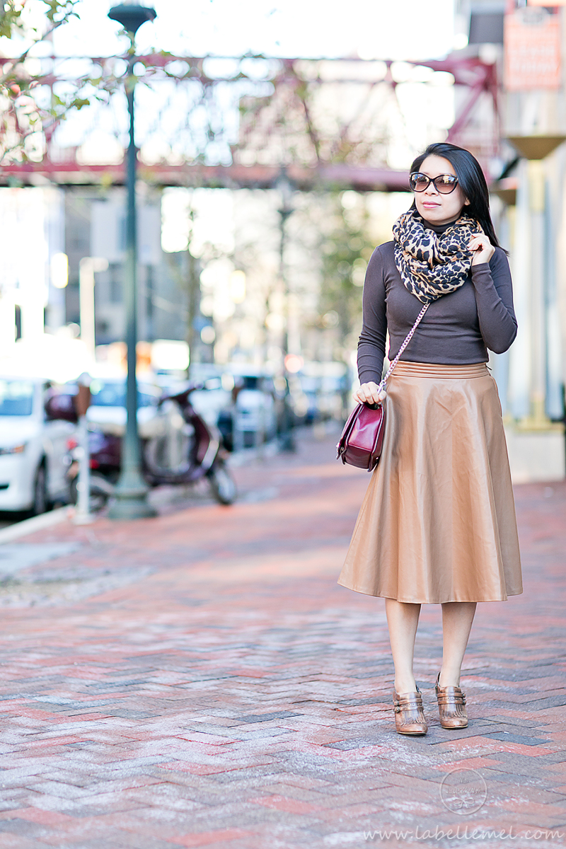 LaBelleMel_Brunch_Ready_Pleather_Midi_Skirt_Monochromatic_Browns_1