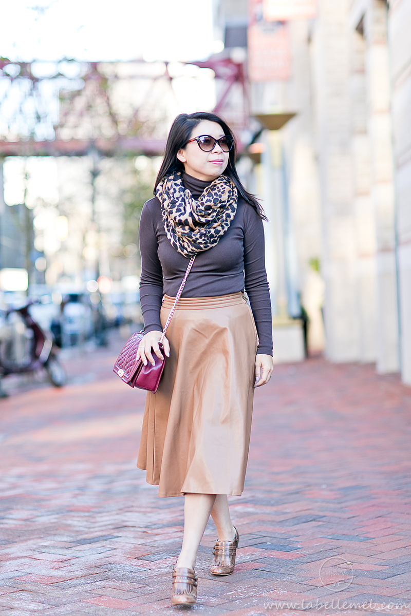 LaBelleMel_Brunch_Ready_Pleather_Midi_Skirt_Monochromatic_Browns_2