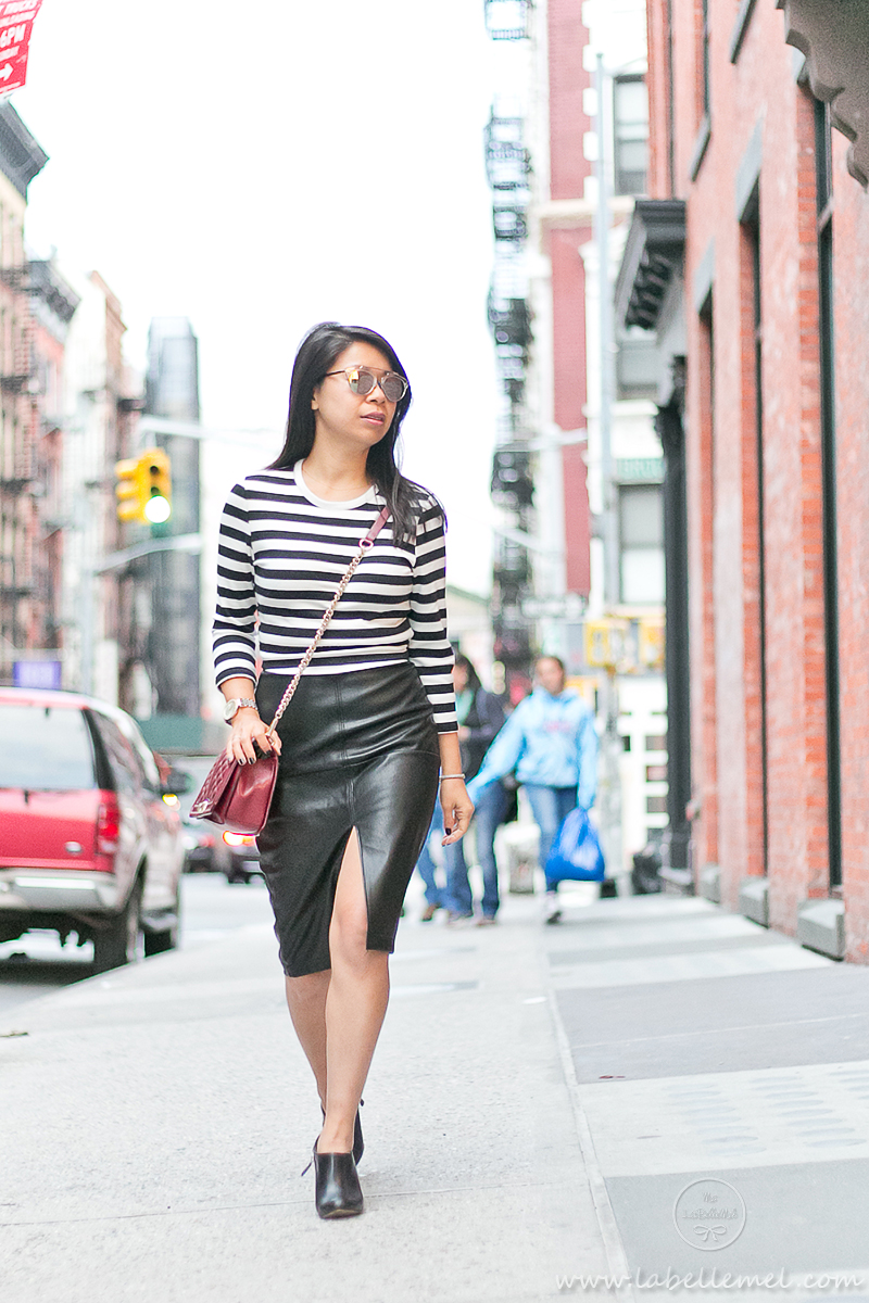 LaBelleMel_SOHO_Black_White_Striped_Top_Pleather_Pencil_Skirt_2