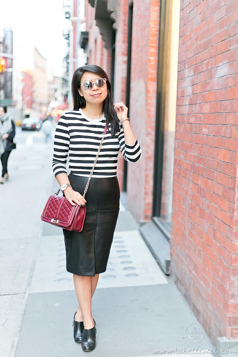 LaBelleMel_SOHO_Black_White_Striped_Top_Pleather_Pencil_Skirt_4