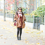 Autumn in Vancouver | Faux Suede Dress + Wool Poncho Cape