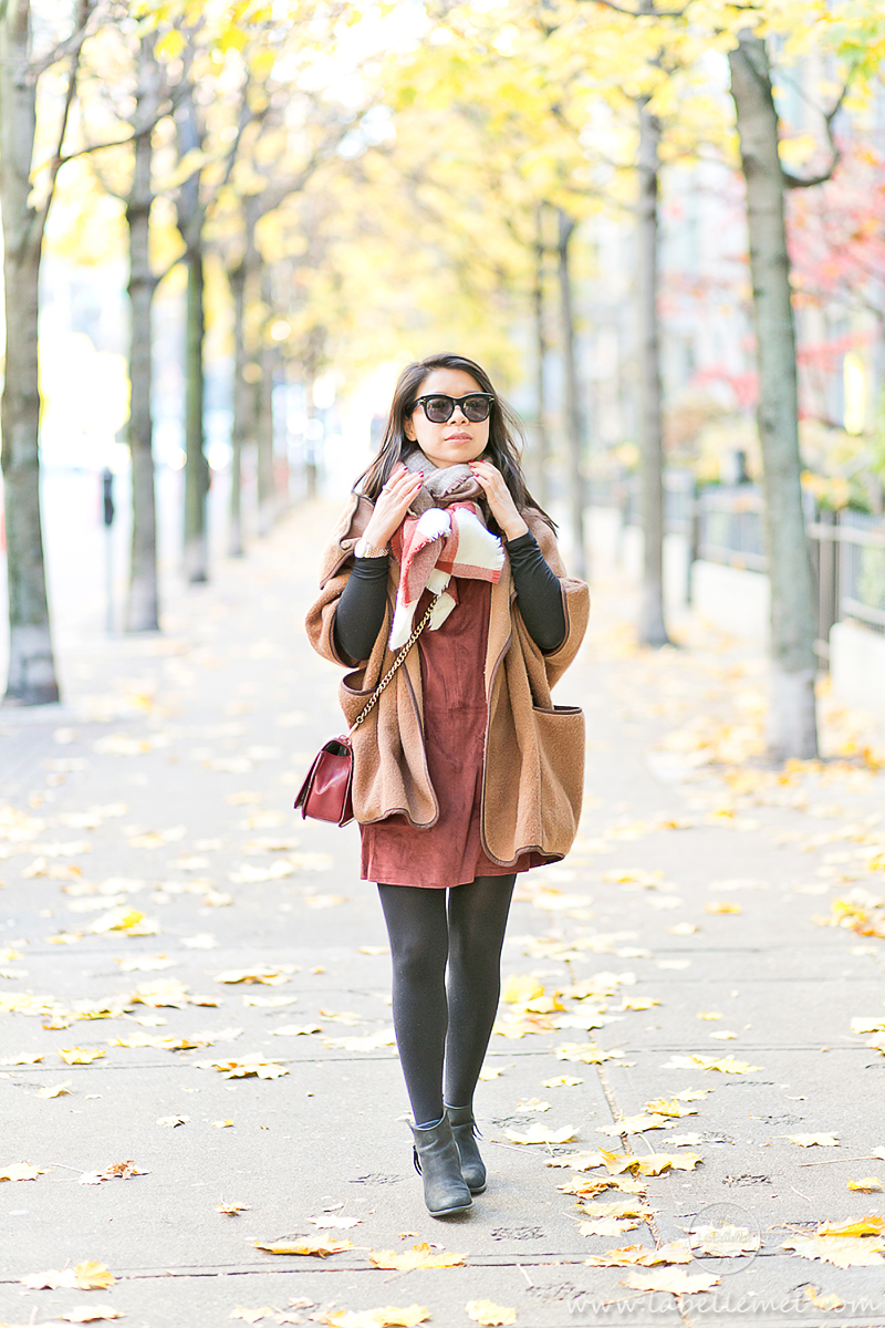 LaBelleMel_Fall_Vancouver_Suede_Dress_Wool_Poncho_Cape_4