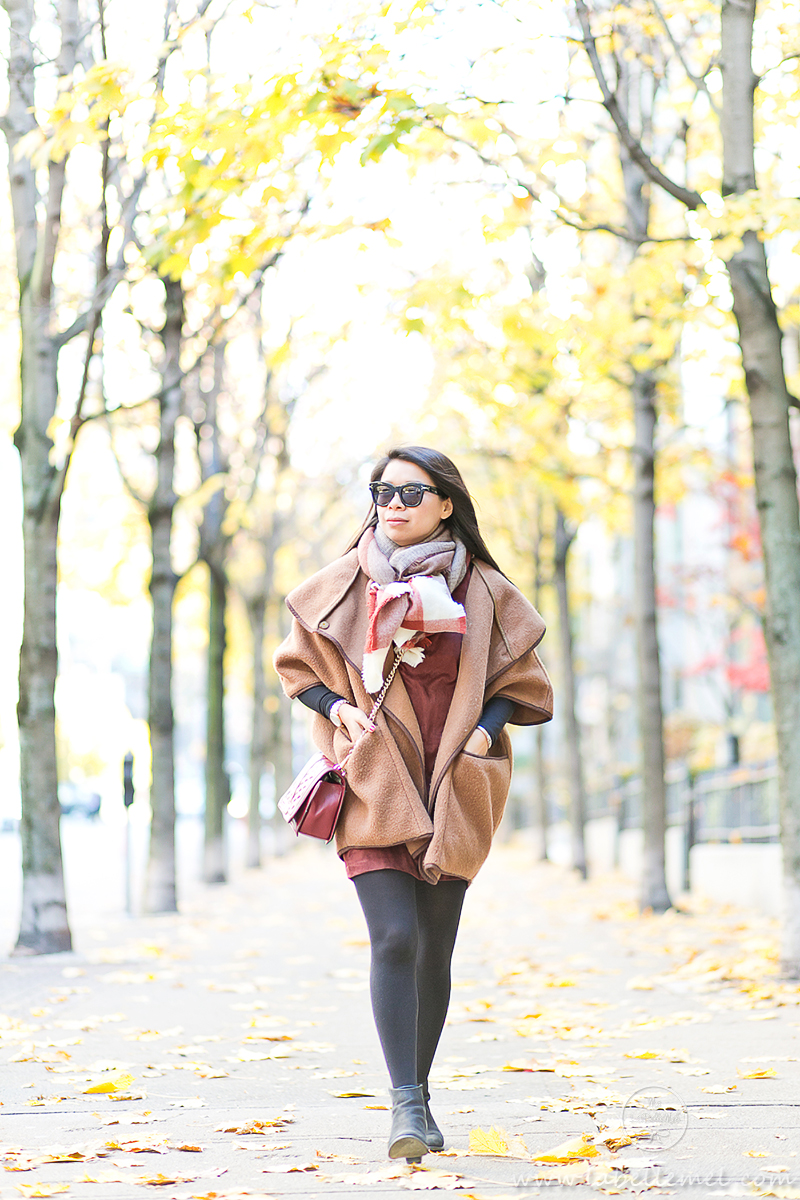 LaBelleMel_Fall_Vancouver_Suede_Dress_Wool_Poncho_Cape_7