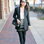 Office Party | Textured Blazer + Fringe Skirt