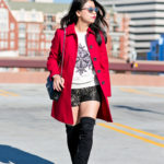 Winter Casual | Red Coat + Thigh High Boots
