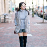 Winter Staples | Faux Fur Striped Vest + Thigh High Boots