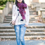 Casual Vday Sunday | Heart-Print Sweater + Leopard Scarf