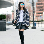 Blurred Lines | Black & Blue Faux Fur Coat + Pleather Skirt