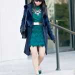 Lucky in LAGOS | Emerald Lace Top & Fringe Skirt + Navy Coat