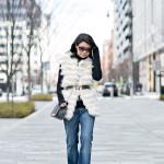 Saturdaze | Striped Faux Fur Vest + Flared Jeans