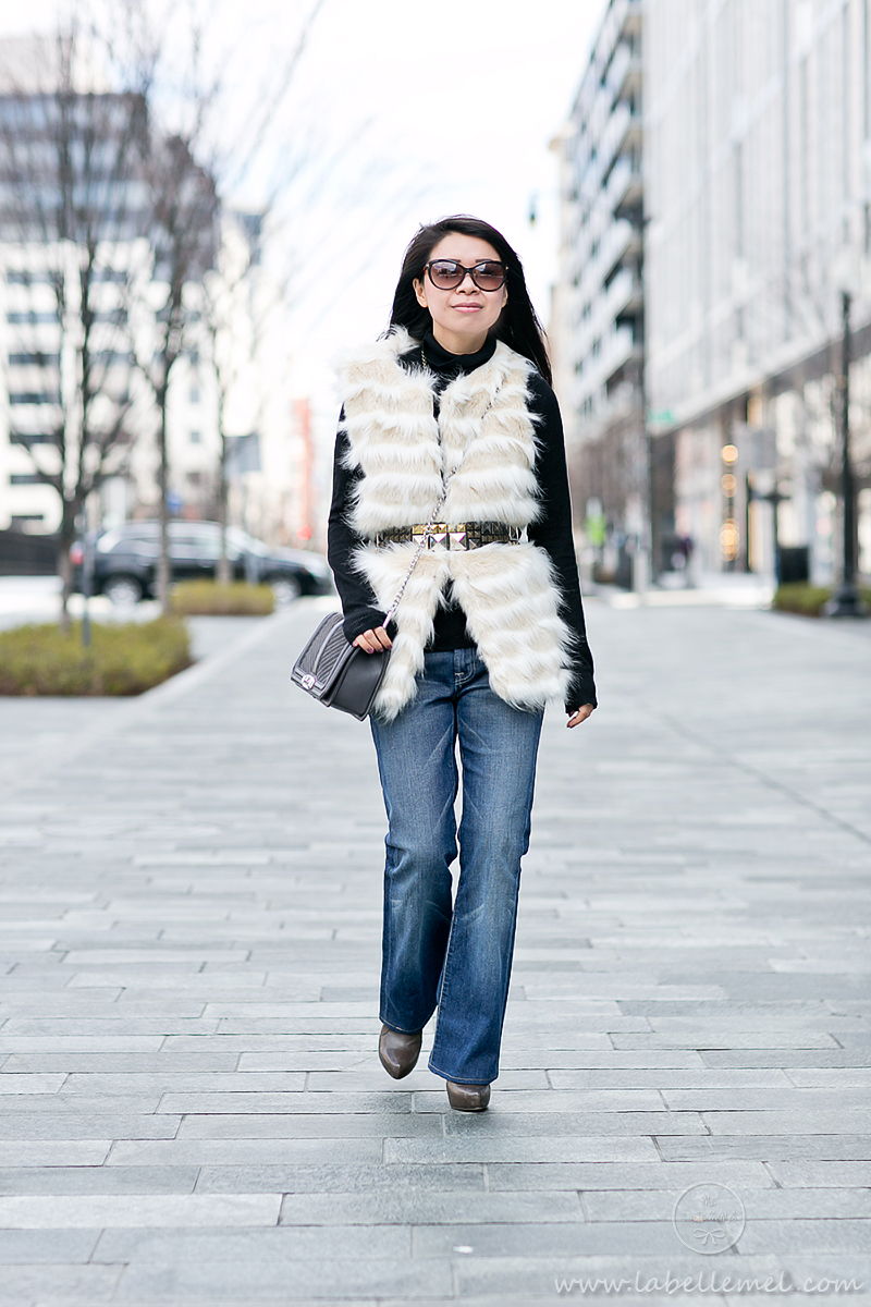 LaBelleMel_Saturdaze_Striped_Faux_Fur_Vest_Flared_Jeans_2