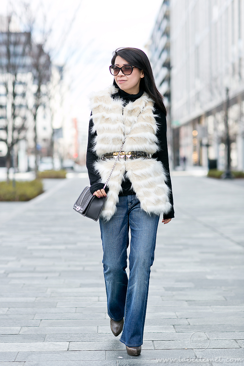 LaBelleMel_Saturdaze_Striped_Faux_Fur_Vest_Flared_Jeans_3