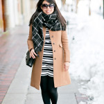 Winter Classics | Tan Coat + Black & White Mixed Prints
