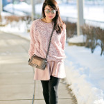 VDAY Casual | Blush Rose Sweater + Pleather Skirt
