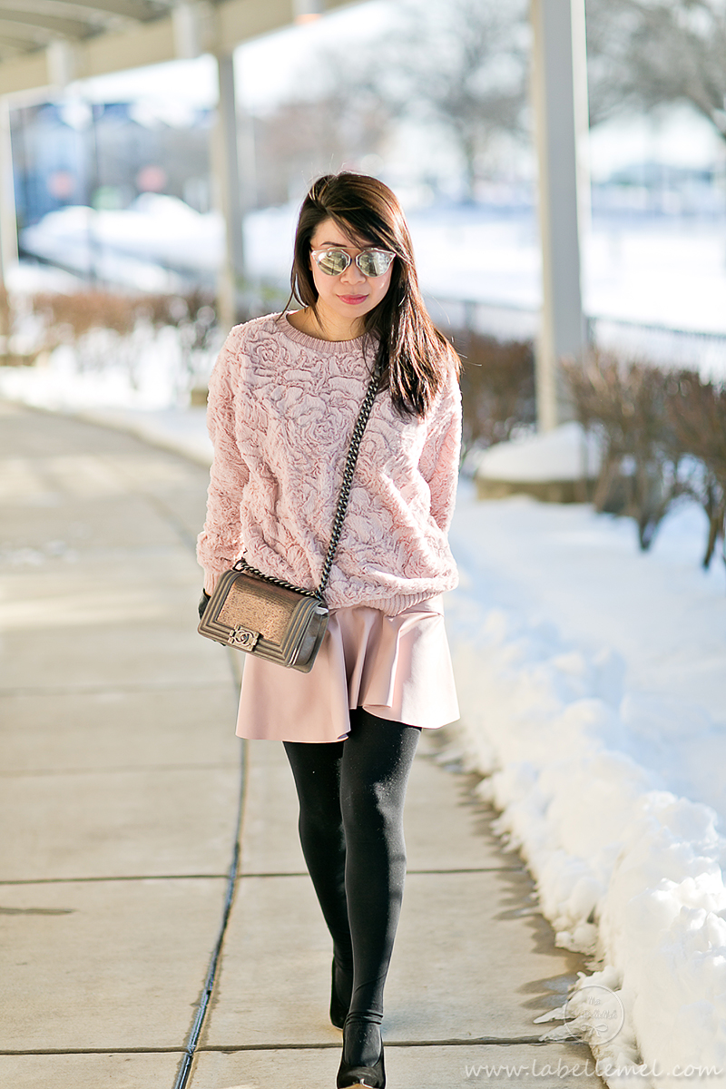LaBelleMel_Vday_Casual_Blush_Rose_Sweater_Pleather_Pleated_Skirt_1
