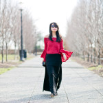 Vday Date Night | Bell-Sleeves Top + Double Side Split Maxi Skirt