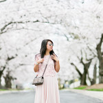 DC Cherry Blossoms | Pink Lace Top on Pink Midi Skirt