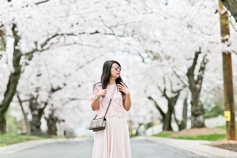 LaBelleMel_DC_Cherry_Blossoms_Pink_Crochet_Lace_Top_on_Pink_Midi_Skirt_1