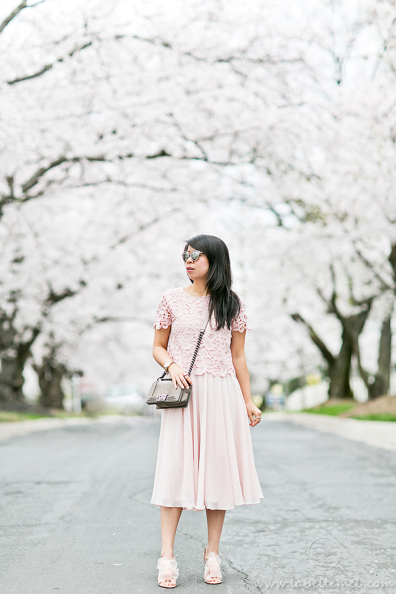 LaBelleMel_DC_Cherry_Blossoms_Pink_Crochet_Lace_Top_on_Pink_Midi_Skirt_2