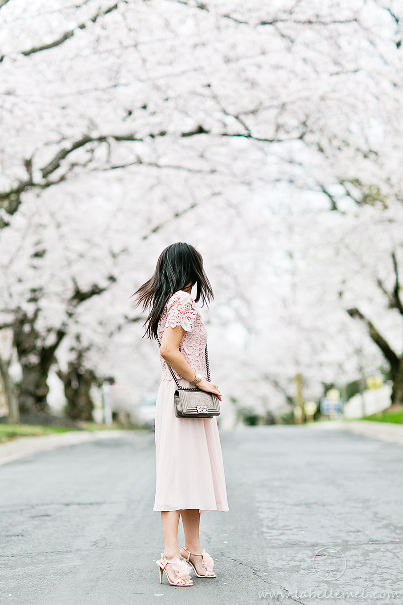 LaBelleMel_DC_Cherry_Blossoms_Pink_Crochet_Lace_Top_on_Pink_Midi_Skirt_4