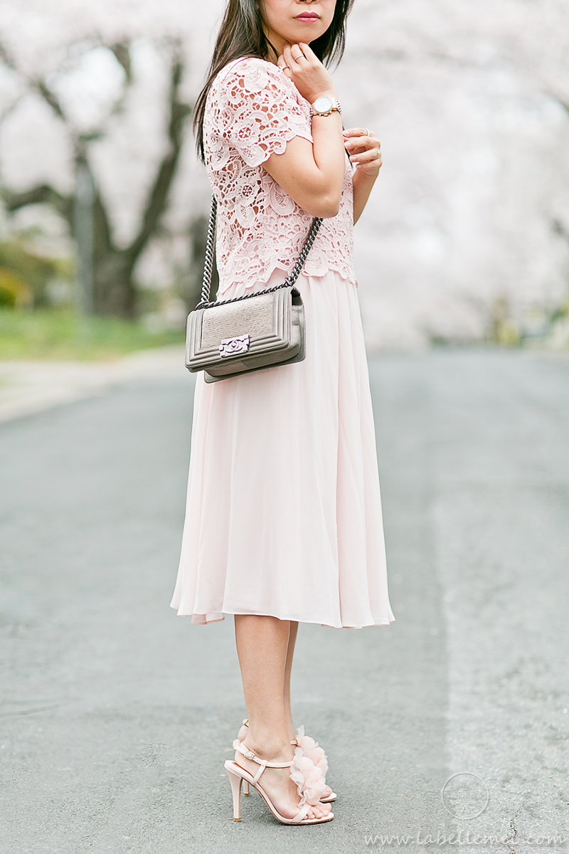 LaBelleMel_DC_Cherry_Blossoms_Pink_Crochet_Lace_Top_on_Pink_Midi_Skirt_7