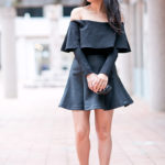 Date Night | Off-Shoulder Scuba Top + Flared Pleather Skirt