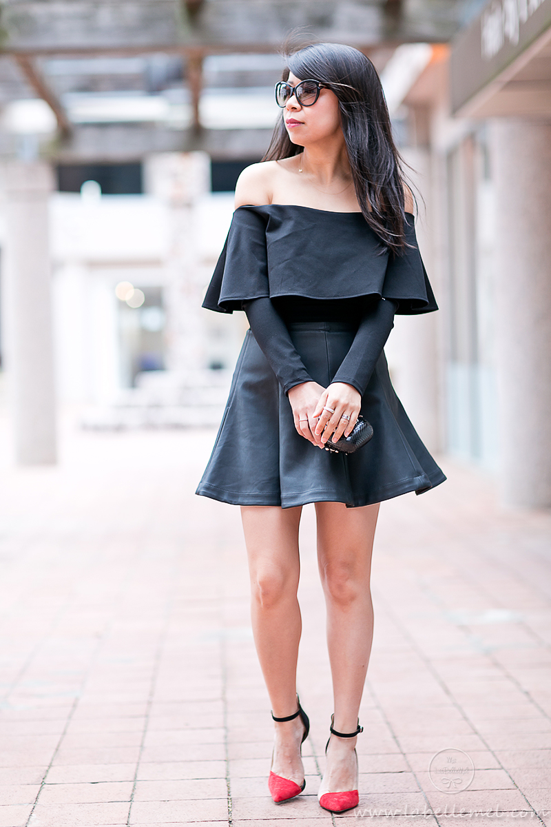 LaBelleMel_Date_Night_Off_Shoulder_Scuba_Top_Pleather_Skirt_1