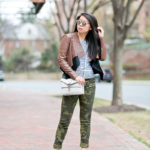 Spring Casual | Flared Leather Jacket + Camo Skinnies