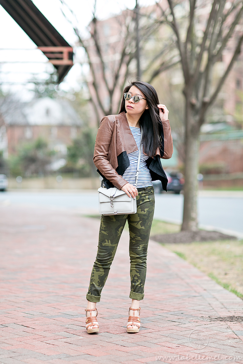 LaBelleMel_Spring_Casual_Flared_Leather_Jacket_Camo_Skinnies_1
