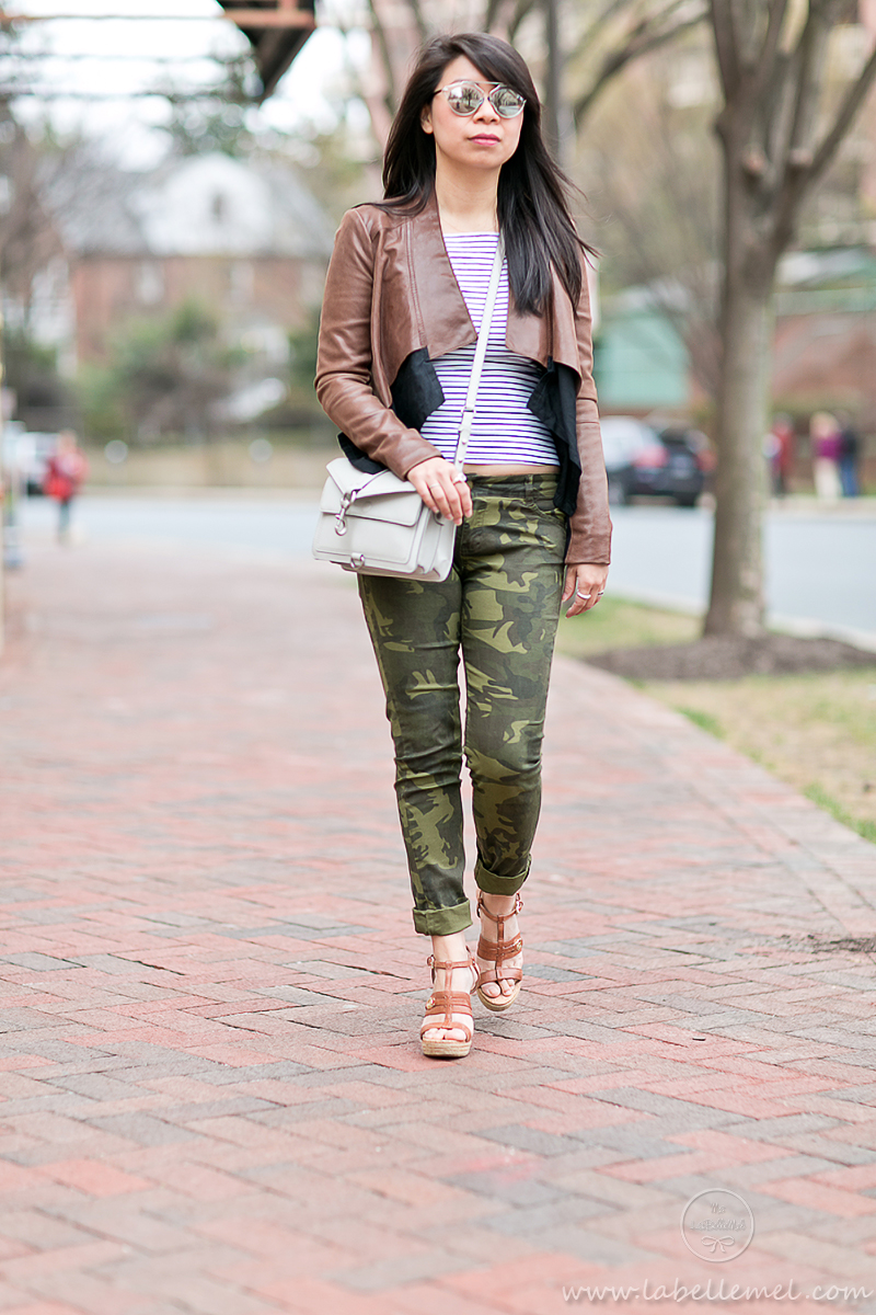 LaBelleMel_Spring_Casual_Flared_Leather_Jacket_Camo_Skinnies_4