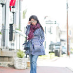 Spring Showers | Navy Striped Trench + Aubergine Leopard Scarf