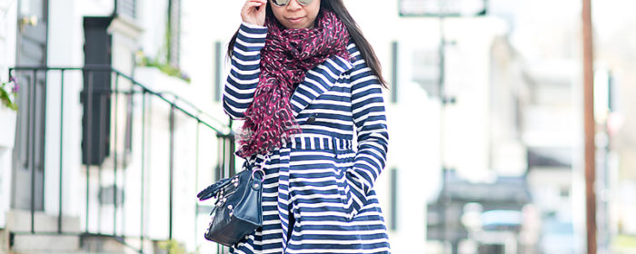 LaBelleMel_Spring_Showers_Navy_Striped_Trench_Aubergine_Leopard_Scarf_1