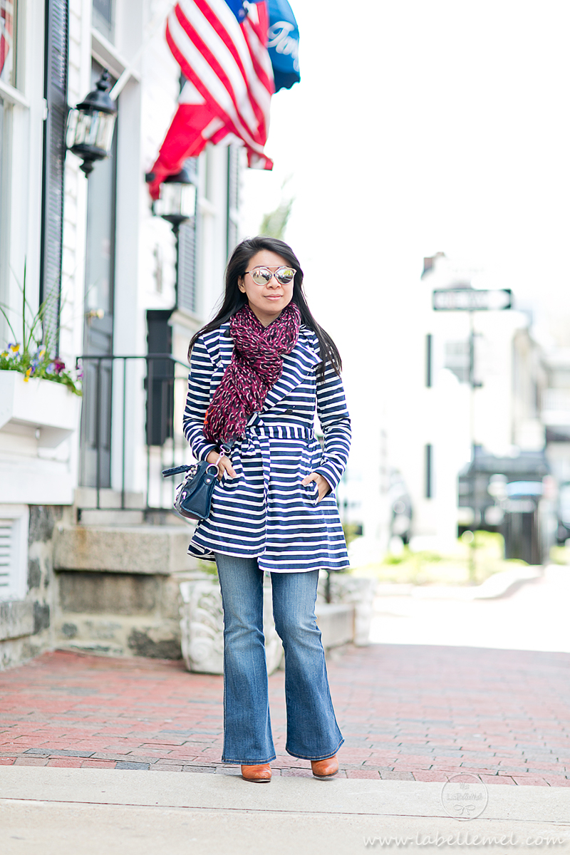 LaBelleMel_Spring_Showers_Navy_Striped_Trench_Aubergine_Leopard_Scarf_2